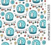 doodles christmas seamless... | Shutterstock .eps vector #751114255