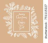 hand drawn christmas  greeting... | Shutterstock .eps vector #751115227