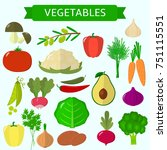 vegetables icons set in... | Shutterstock . vector #751115551