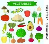 vegetables icons set in...   Shutterstock . vector #751115551