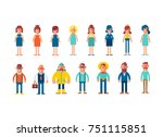 big set of characters in flat... | Shutterstock .eps vector #751115851
