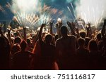 colorful fireworks and crowd... | Shutterstock . vector #751116817