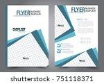 blue flyer template design.... | Shutterstock .eps vector #751118371