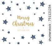 christmas golden greeting card... | Shutterstock .eps vector #751121254