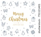 christmas greeting card golden... | Shutterstock .eps vector #751121401
