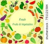 vegetables icons set in... | Shutterstock . vector #751121584
