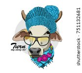 vector cow with knitted blue...   Shutterstock .eps vector #751132681