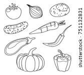 vegetables contour | Shutterstock .eps vector #751132831
