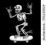 skeleton skateboarder white... | Shutterstock .eps vector #751135519