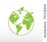 blue world globe with green...   Shutterstock .eps vector #751136224