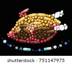 pills  tablets and capsules...   Shutterstock .eps vector #751147975