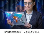 Small photo of Air transportation concept with businesswoman