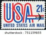 usa circa 1971  a 21 cent... | Shutterstock . vector #751159855