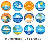 summer party labels and emblems ... | Shutterstock . vector #751170589