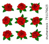 red roses with green leaves... | Shutterstock . vector #751170625