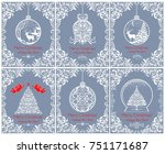beautiful vintage christmas... | Shutterstock .eps vector #751171687