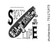 skateboarding t shirt design.... | Shutterstock .eps vector #751171975