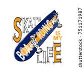 skateboarding t shirt design.... | Shutterstock .eps vector #751171987