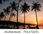silhouetted palm trees and... | Shutterstock . vector #751172251