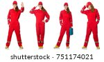 woman in red overalls isolated... | Shutterstock . vector #751174021