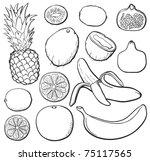 tropical fruit set  black and... | Shutterstock .eps vector #75117565