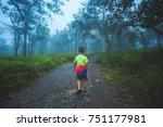 a children walk a way in forest ... | Shutterstock . vector #751177981