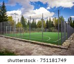 soccer field with green grass... | Shutterstock . vector #751181749