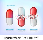 red capsules info graphic.... | Shutterstock .eps vector #751181791