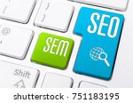 macro of a keyboard with seo... | Shutterstock . vector #751183195