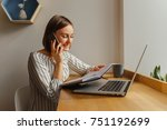 young business woman leading... | Shutterstock . vector #751192699