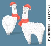 cute cartoon lama alpaca in...   Shutterstock .eps vector #751197484