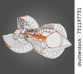 turbo jet engine aircraft.... | Shutterstock .eps vector #751197751