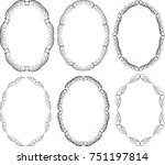 set of silhouettes floral... | Shutterstock .eps vector #751197814