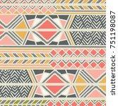 tribal ethnic colorful bohemian ... | Shutterstock .eps vector #751198087
