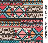 tribal ethnic colorful bohemian ... | Shutterstock .eps vector #751198105