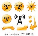 radio tower icon on orange...   Shutterstock .eps vector #75120118