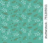 christmas seamless pattern with ... | Shutterstock .eps vector #751205011