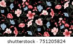 Stock vector seamless floral pattern in vector 751205824
