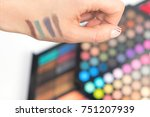 eye shadow swatches on woman... | Shutterstock . vector #751207939