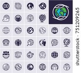 globe icons set  planet earth | Shutterstock .eps vector #751209265