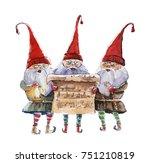 watercolor christmas... | Shutterstock . vector #751210819