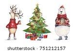 watercolor christmas... | Shutterstock . vector #751212157