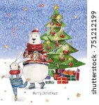 watercolor christmas... | Shutterstock . vector #751212199