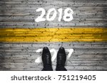 welcome 2018   goodbye 2017  ... | Shutterstock . vector #751219405