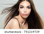 glamorous young woman with... | Shutterstock . vector #751219729