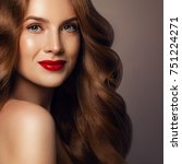 perfect redhead woman with... | Shutterstock . vector #751224271