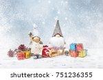 christmas greeting card. noel...   Shutterstock . vector #751236355