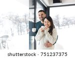 happy young multiethnic couple... | Shutterstock . vector #751237375