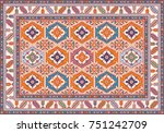 colorful oriental mosaic kilim... | Shutterstock .eps vector #751242709