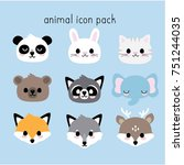 cute animal faces | Shutterstock .eps vector #751244035